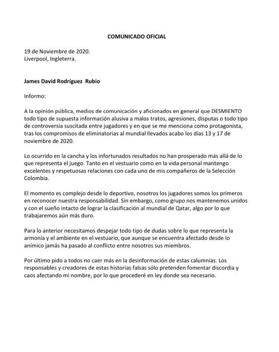 El comunicado oficial de James Rodríguez