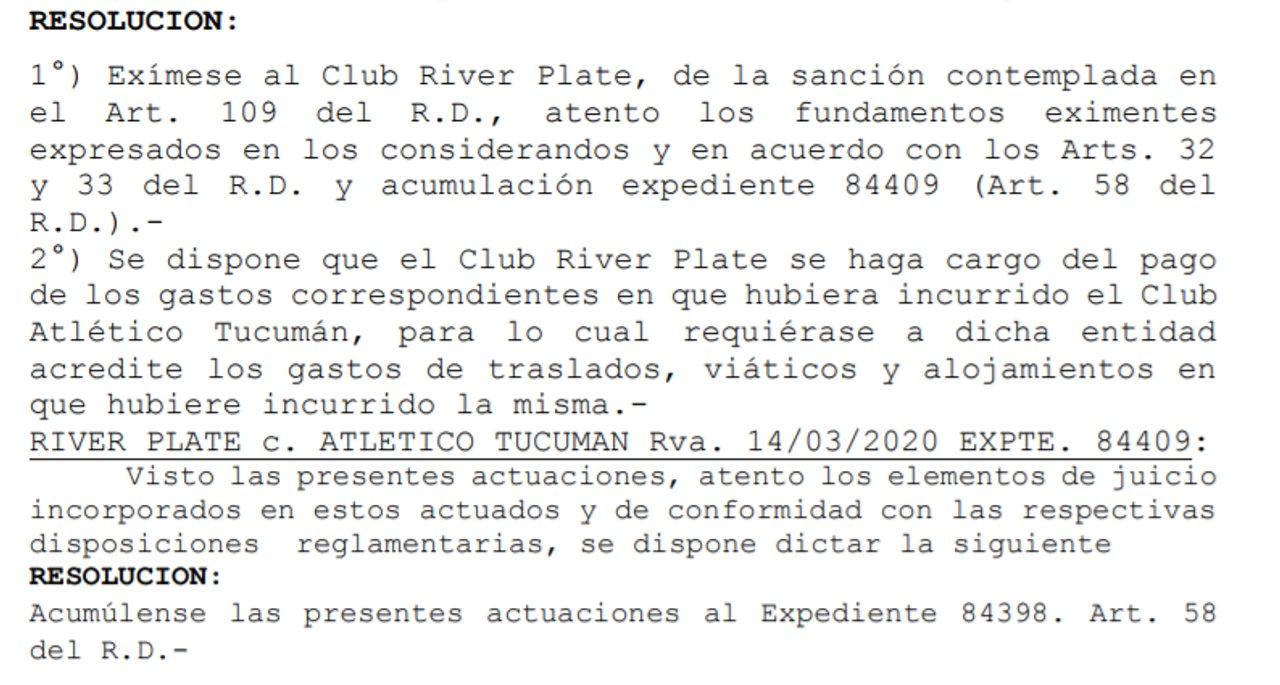 La resolución del Tribunal de Disciplina por la situación de River