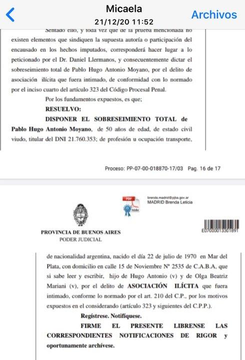 Parte de la resolución de la jueza Madrid