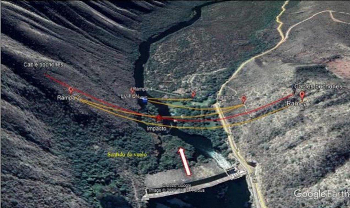 Vista panorámica de la zona del accidente y tendido de canopy